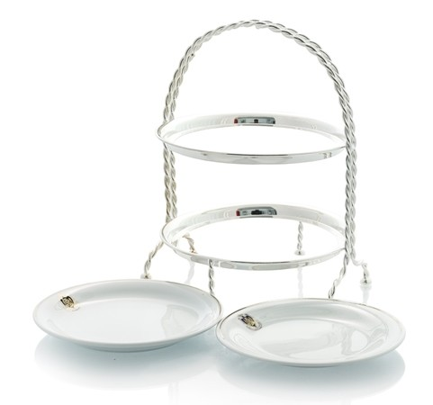 Silver stand with plates and logo Florian