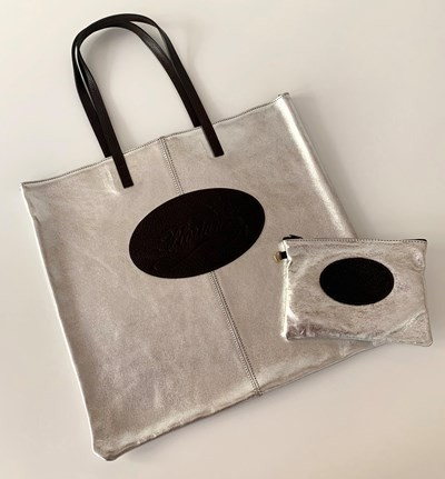 Florian set: leather shopping bag and pouch