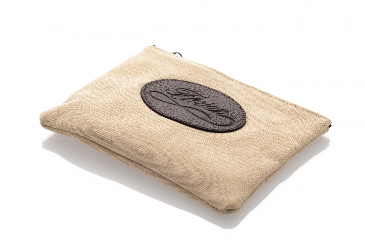 beige canvas pouch
