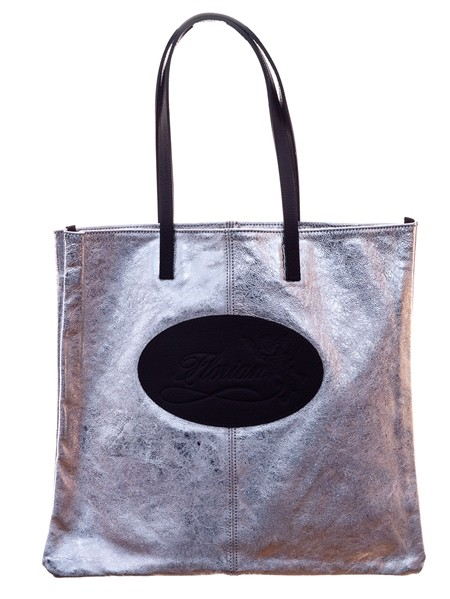 silver leather shopping bag