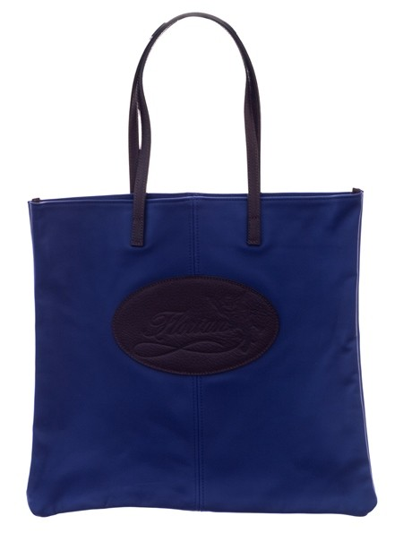 blue leather shopping bag