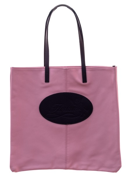light pink leather shopping bag