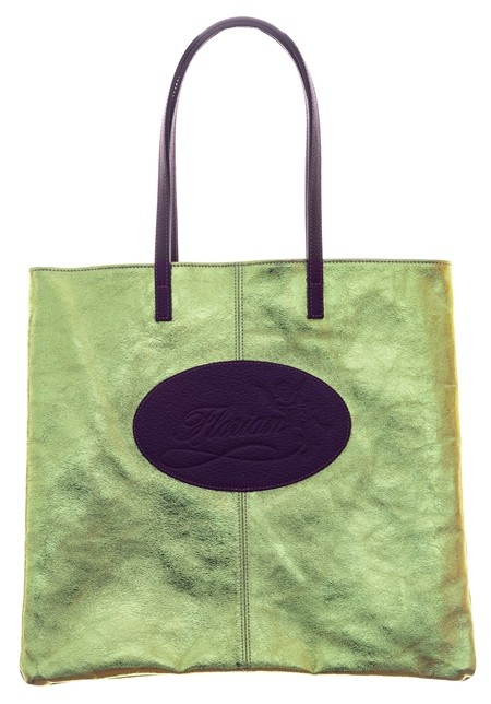 Lamé leather shopping bag lime