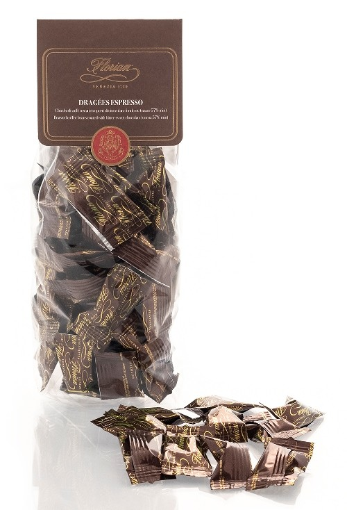 roasted coffee beans covered with dark chocolate