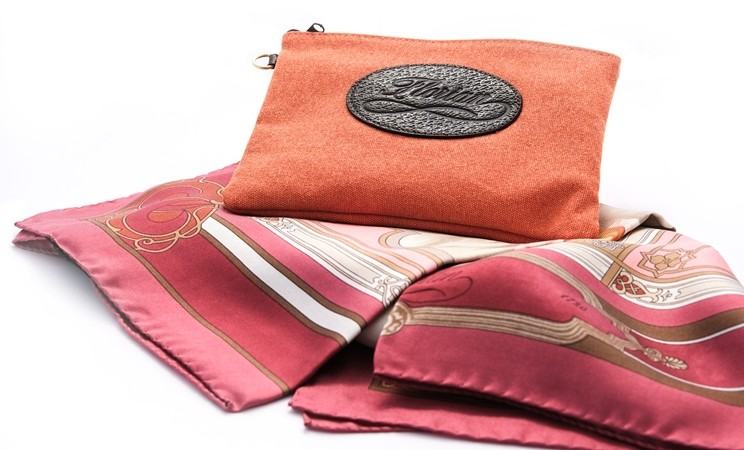 florian silk scarf with pouch in canvas
