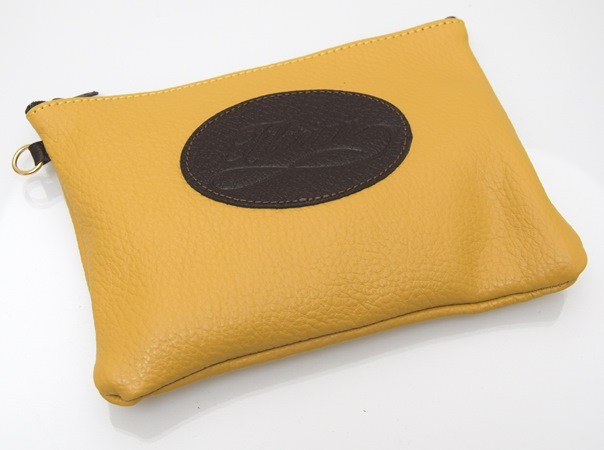 ocher yellow leather pouch