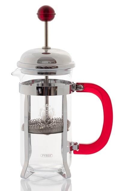 Tea maker in pyrex glass and stainless