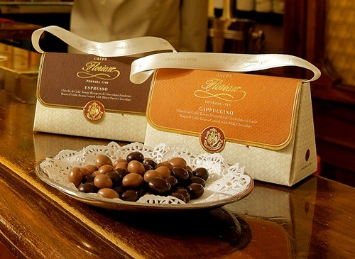 roasted coffee beans covered with milk chocolate