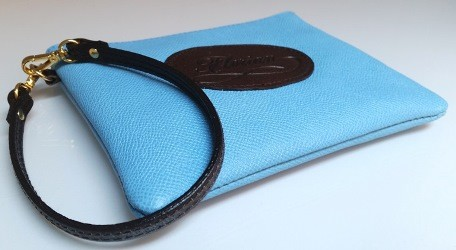 turquoise leather pouch with handchain