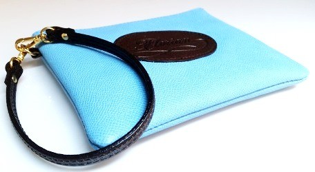 Leather pouch with handchain