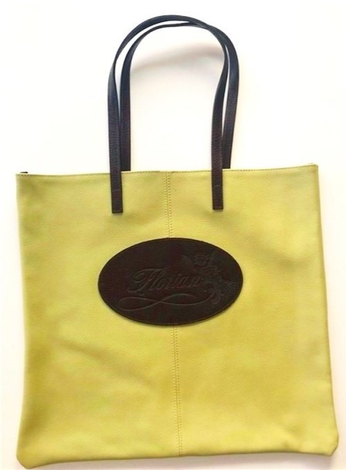 apple gree leather shopping bag