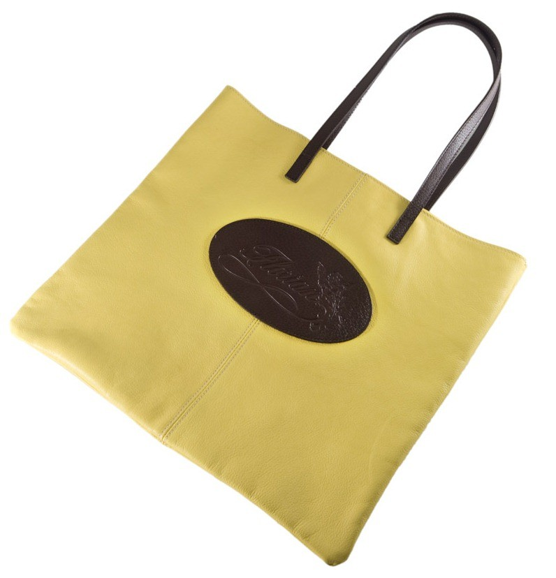yellow leather shopping bag