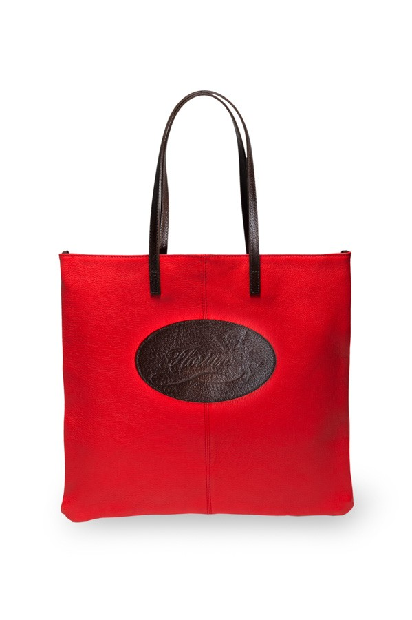 red leather shopping bag