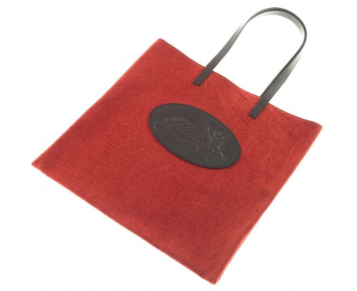 red canvas shopping bag