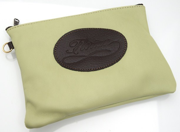 apple green leather pouch
