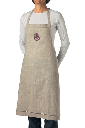 Hand embroidered écru apron with logo