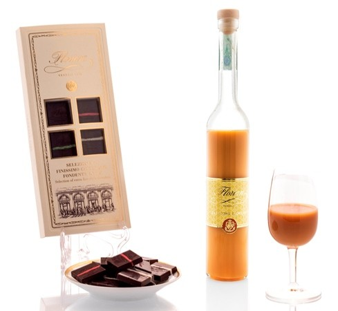 Selection of extra fine dark chocolate and Florian zabaione liqueur