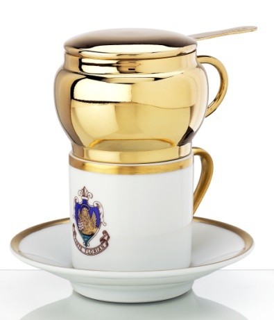 """Impero"" coffee cup and saucer with brass filter"