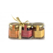 Set of strawberry, orange and apricot selected jams