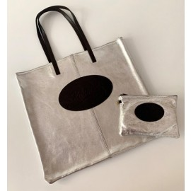 Set Florian: shopping bag e astuccio in pelle