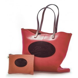 leather shopping bag with canvas pouch