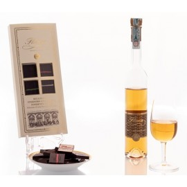 Selection of extra fine dark chocolate and Florian grappa riserva