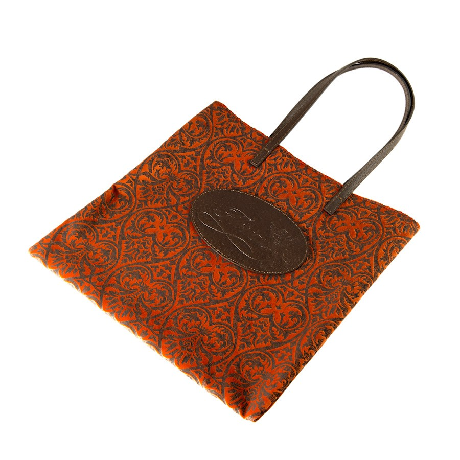 shopping bag damascata arancio