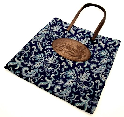 shopping bag damascata blu
