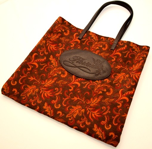 shopping bag damascata arancio scuro
